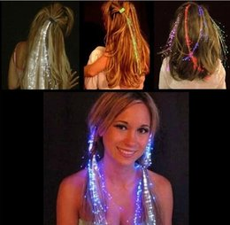 Wholesale Hair Flashing Extension - Chirstmas Party LED Toys Colofrul Luminous Light Up LED Hair Extension Flash Braid Party girl Hair Glow Night Lights Decoration