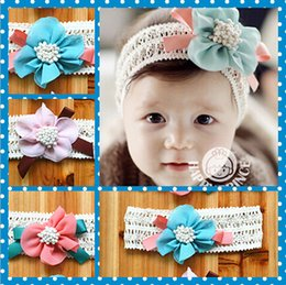 Wholesale Lace Hair Flowers - Pretty baby Hair Accessories For Infant Baby Lace Big Flower Bow Princess Babies Girl Hair Band Headband Baby's Head Band Kids 10pcs