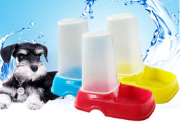 Wholesale Vessel Bowls - Cheap Pet Water Food Bowl Dog Automatic Feeder&Waterer Dog Feeding Vessel Suit For Small Pets Mix Color 10PCS LOT