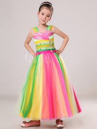 Wholesale Images Colourful Gowns - 2016 New Hot Sale Colourful Youthful Custom Made Beading Straps Ball Gowns Flower Party Dress Dance Girls Pageant Dresses