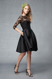 Wholesale Lace Bodice Special Occasion Dresses - 2015 Black Short Cocktail Dresses 3 4 Lace Long Sleeves Prom Dresses A Line Sheer Neck Special Occasion Dresses Bodice Homecoming Dresses