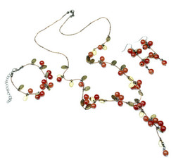 Wholesale Sweet Cherry Bracelet - Fashion Sweet Vintage Jewelry Red Acrylic Bead Cherry String Long Necklace Bracelet Earring Jewelry Set Wholesale 10 Sets