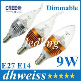 Wholesale Led Candelabra Dimmable - Dimmable Approved E14 LED Candle Bulb Light LED Candelabra Light 3*3W 9W270-300lm Warm White AC 85-265V Free Fedex DHL AC 85-265V+CE ROHS