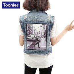 Wholesale Womens Plus Size Down Vests - Womens Vests Outerwear 3D Spring Women Denim Vest Coat Denim Sleeveless Jacket Plus SIze Jeans Vest Female Short Colete Top