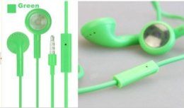 Wholesale Headphone For One Ear - Colorful In-Ear Earphone Headphone Headset 3.5mm with Mic Colorful Earphones for iphone 4 4s 3gs 5 5s Samsung One Blackberry 100 Pcs
