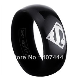 Wholesale Tungsten Superman Wedding Band - Wholesale-Free Shipping Cheap Price USA Russia Brazil Hot Sales 8MM Black Domed Superman Super Tungsten Carbide Wedding Ring US sizes 6-13
