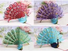 Wholesale Peacock Invitations - Wholesale- 10pcs 3D Peacock Handmade Kirigami Origami Wedding Party Invitation Cards Greeding Birthday Card Postcard