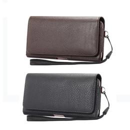 Clip flip cintura clip online-Lusso universale Holster clip da cintura vita Uomo caso di vibrazione del telefono sacchetto della copertura del cuoio dell'unità di elaborazione per Iphone 6 6s 7 Plus Samsung Galaxy S7