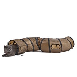 Wholesale Toys Price - New Creative Sigmate Funny Pet Tunnel Brown Foldable 1 Holes Cat Toy Bulk Toys Pet Play Tunnel Direct Factory Price Pet Supplies