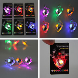 Wholesale Led Heart Chandelier - Christmas Party LED Earrings Light Up Round Butterfly Heart Shaped fashion Shiny Eardrop flashing earrings many color for your choose