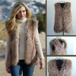 Wholesale Fox Women S Jackets - Fashion Faux Fur Vest Warm Jacket Top Winterwear Faux Fox Fur Waistcoat Vest Coats Wrap sleeveless Jacket Coat WT22