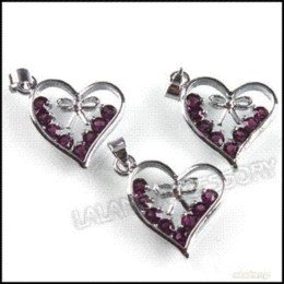 Wholesale Bail Rhinestone Charm - 24pcs lot Purple Heart Rhinestones Charms Bail Necklace Pendants Rhodium Plated Alloy Pendant 23x18x3mm 140231 alloy pendant