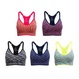 Wholesale Spaghetti Top Bra - Spaghetti Strap Sports Shirts Yoga Gym Vest Fitness Sexy Underwear Lady Tops Adjustable Quick Dry Sports Bra Padded Shakeproof Underwear