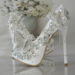 Wholesale ballet flats animal print - Sparkling Crystal Bowknot Wedding Shoes Diamond Bride Shoes Elegant Tassel Dress Shoes High Heels Pumps Free Shipping
