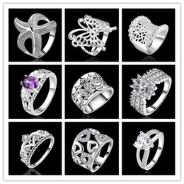 Wholesale Crystal Gems Wholesalers - Gorgeous pretty Free shipping new 925 sterling Silver Crystal CZ gem stone Ring Top Quality fashion WEDDING Jewelry 9pcs lot