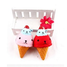 Wholesale Large Cute Teddy Bears - Hot sale Slow Rising PU cute double head teddy bear mobile phone pendant Large Ice Cream Squishies Phone Charms