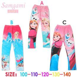 Wholesale Low Price Leggings - Newest 3 designs low price Frozen Elsa Anna princess girls children leggings long pants trousers cartoon clothing