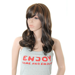 Wholesale Cheap Synthetic Two Tone Wigs - New Two-tone Synthetic Hair Wigs Womens Lady's Long Wavy Curly Cosplay Wig with Full Bangs Cheap Wigs for Free Shipping