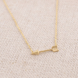 Wholesale Simple Cute Necklace - 30PCS- N010 Gold Silver Tiny Horizontal Arrow Necklace Pendant for Women Simple Cute Sideways Arrow Necklace for Men