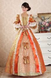 Wholesale Marie S - Freeship red Medieval Renaissance Gown queen Dress Vampire Costume Halloween Victorian Gothic Marie Antoinette civil war Colonial Belle Ball