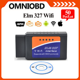 Wholesale Obd2 Scanner Ipad - 50PCS lotELM327 WIFI OBD2   OBDII Auto Diagnostic Scanner Tool ELM 327 WiFi interface scan Tool for iPhone iPad DHL Free Shipping