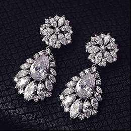 Wholesale Tear Drop Jewelry - Fashion Silver Flowers Rhinestone Crystal Bridal Earrings Wedding Tear Drops Luxury Bridesmaid Earrings Jewelry Bridal Accessories
