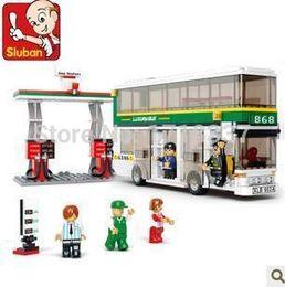 Wholesale Blocks Brick M38 - M38-B0331 Sluban City Bus and Gas station 3D Construction Brick Toys Educational Minifigures Model Building Blocks Toy Gift