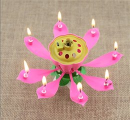 Wholesale Wholesale Birthday Candle Flower - 2017 New Velas Decorativas Newest Music Candle Birthday Party Wedding Lotus Sparkling Flower Candles Light Event Festive Supplies Ems free
