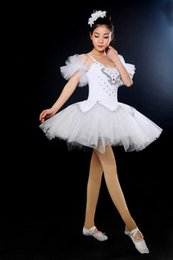 black white ballerina Canada - Girl's traditinoal nice white black tutu performance Ballerina skirt stage ballet dress with head wear D008