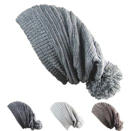 Wholesale Hip Hop Hair - Melaleuca Folds Beanies Winter Protection Double Colors Hedging Cap With Big Hair Ball Hip Hop Hats For Men And Women 6 8jb B