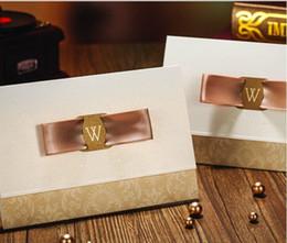 Wholesale Sale Wedding Invitation Card - Hot Sale Marvelous Light Wedding Invitation Champagne Golden Free Personalized & Customized Printing Wedding Invitations Cards Custom