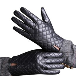 Wholesale Nappa Leather Men - Wholesale-New 2015 Genuine Nappa Leather Gloves For Men Mittens Winter Warm Warm Grids Lattice Glove Free Ship