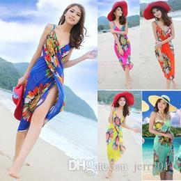 Wholesale Bohemian Swimwear - 2016 Summer New Women Deep V Wrap Chiffon Swimwear Bikini Cover Up Sarong Beach Dress Bohemian Big Size 6 Colors SV001145#006
