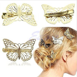 Wholesale American Clip - Hair Clippers Women Shiny Gold Butterfly Hair Clip Headband Hair Hairpin Headpiece Beauty Lady Hair Accessories Headpiece Hairband Jewelry