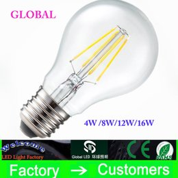 Wholesale E27 4w Dimmable - Super Bright E27 B22 Led Filament Bulbs Light 360 Angle A60 A19 Dimmable Edison Lamp 4W 8W 12W 16W 110-240V CE UL Warranty 3 Year