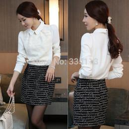 Wholesale Korean Chiffon Blouse Designs - New Arrival 2015 Women Fashion Korean Design Chiffon Slim Tops Long SleeveTurn Down Collar Basic Shirt Blouse