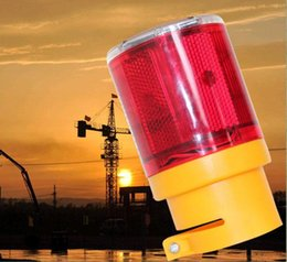 Wholesale Red Flashing Beacon Light - 2 piece solar powered traffic warning light 6 Led flashing LED soalr safty signal beacon alarm lamp emergency warning A0013