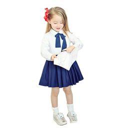 Wholesale Dress Long Sleeve Kid - Fashion Children Girl Dress Bowknot Button Fastening Turn-Down Collar Long Sleeve Dress Kids Clothes White