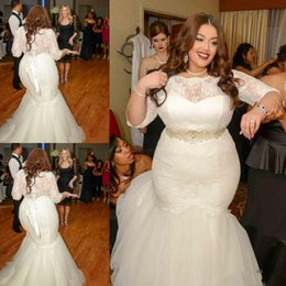 Wholesale Flower Places - Custom Made 2016 Place wedding dresses Big Size Sheer Crew Neck 1 2 Sleeves Lace Flowers bateau mermaid dresses Plus Size wedding dresses