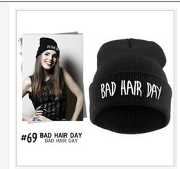 Wholesale New Look Hair - Wholesale-Free Shipping BAD HAIR DAY Fluorescent Knitted Hat Soft Elastic Beanie New For Women Men Ski Winter Novelty Look