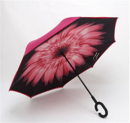 Wholesale Umbrella Protection - DHL High Quality Windproof Reverse Folding Double Layer Inverted Chuva Umbrella Self Stand Inside Out Rain Protection C-Hook Hands