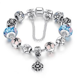 Wholesale double layer ring - Hot Selling DIY Pandora Bracelet Double Layers Plating 925 silver Copper Alloy Colored Glass Beads Rhinestone Beaded Strands Bracelet