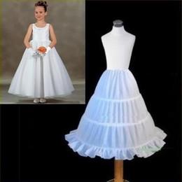 Wholesale Kids Hoop Skirts - Free Shipping !!! Cheap Three Hoops Flower Girl Skirt Petticoat White Ball Gown Children Kid Dress Slip Petticoat 2015 In Stock