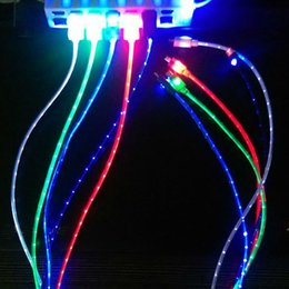 Wholesale Iphone5 Sync Cables - Wholesale-Free shipping 5Colors Visible Micro Light Up LED Charger Data Sync Cable For iphone5 5S 6 Hot Sale