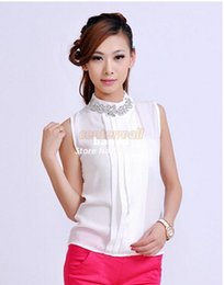 Wholesale Embellished Blouse - Wholesale-New 2016 Korea Women Sexy Summer Chiffon Ladies Blouses Casual Rhinestone Embellished Collar Sleeveless vintage Tops