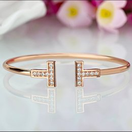 Wholesale Simple Gold Design - 2018 Promotion free Shipping europe And The United States Contracted Design Double T Bracelet Simple Hot Style Bangle Wholesale Retail