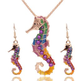 Wholesale sea earrings - Wholesale 5 SetsEnamel Sea Horse Jewelry Sets For Girls Sea Animal Hippocampus Necklace Earring Set Vintage Ethnic Sea Jewelry
