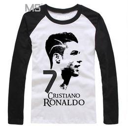 Wholesale Ronaldo T Shirts - Wholesale-Cristiano Ronaldo Long Sleeve Men's T-Shirts 2016 CR7 Shirts For Men Camiseta Football Shirt Mens Clothes