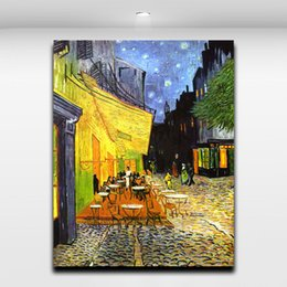Wholesale Wall Street Prints - Night Cafe Shop at Street By Van Gogh Oil Painting Canvas Printing Famous Picture Wall Art for Home Living Hotel Cafe