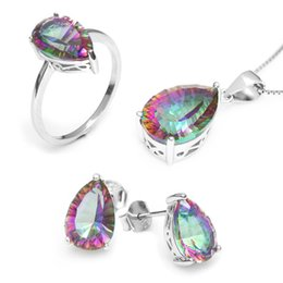 Wholesale Pure Stone Silver Ring - Wholesale Hot Women's Pear 4.5ct Genuine Gem Stone Rainbow Mystic Topaz Pendant Ring Earring Set Solid Pure 925 Sterling Silver